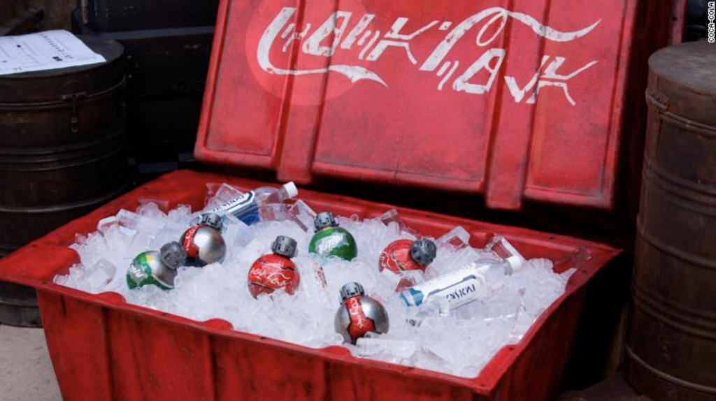 ice chest filled with Coke bottles